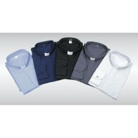Tunnel Collar Shirt Half Cotton Long Sleeve 10000-ML